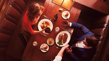 overhead shot of couple dining
